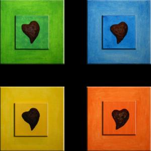 """4 Hearts"" (Quadriptychon - 60 x 60)"
