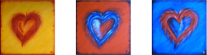 """Hearts"" (Triptychon 90 x 30)"