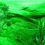 """Landscape green s"" (14,8 x 10,5)"