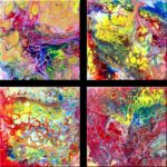 """""""Collage Pouring 7-10"""" (jeweils 20 x 20)"""